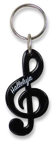 """Schlüsselanhänger Notenschlüssel """"Halleluja"""" - schwarz"""