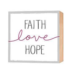 Faith-Love-Hope - Holz-Deko-Bild 12x12cm